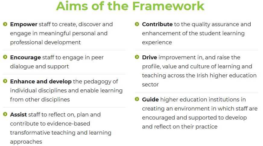 National Forum Professional Development Framework Aims