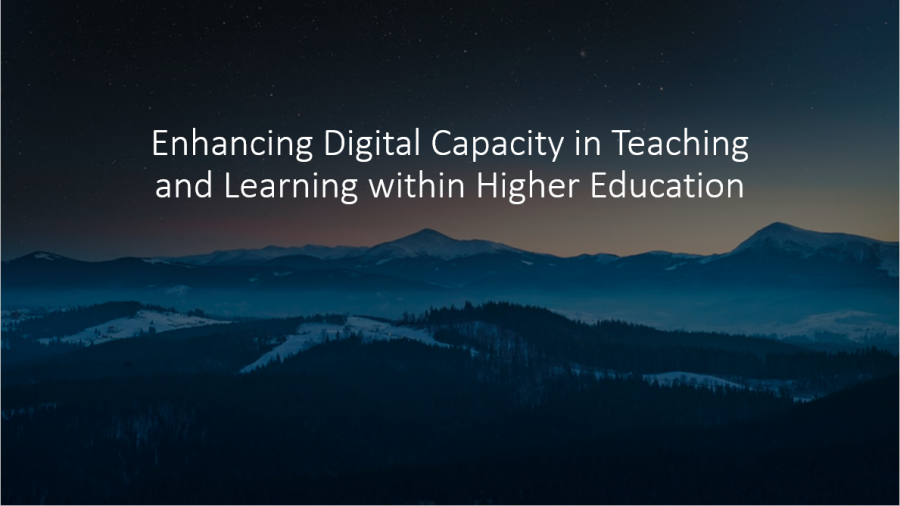 "Image of snow peaked mountains as a background. White text in foregound reads ""Enhancing Digital Capacity in Teaching and Learning within Irish Higher Education""."